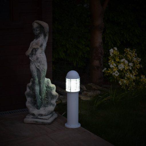 0.6m white louvred bollard light & statue