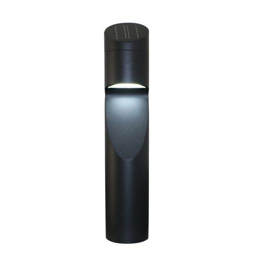Eccentrica Black Solar Bollard - Daylight White