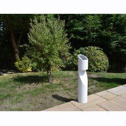 Eccentrica White Solar Bollard in situ