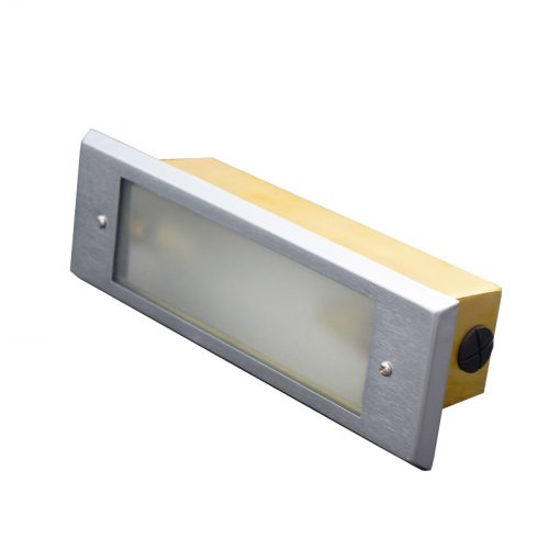 aged silver brick light with frosted faceplate LED otudoor use